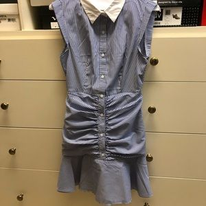 English factory blue and white striped dress